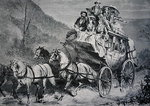 Travelling through the American West by Concord Stagecoach in the 1860s Fine Art Print by American School