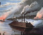 Federal Ironclad Ship on the Mississippi bombarding Enemy Territory Fine Art Print by American School