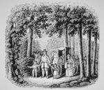 Thomas Hooker leading his parishioners into the Connecticut wilderness Fine Art Print by American School