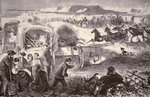 A Wagon Train formed into a Corral on the Oregon Trail, 1869 Wall Art & Canvas Prints by American School