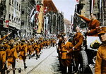 Hitler Youth march past Baldur von Schirach, Nuremberg, 1933 Fine Art Print by German Photographer
