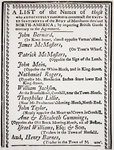 List of merchants who continued importing British goods contrary to an agreement made by the North American Body of Merchants, published in 'The North American Almanac', 1770 Fine Art Print by French School