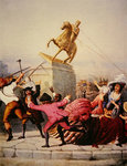 New York patriots pull down the statue of George III at Bowling Green, 9th July 1776, 1854 Fine Art Print by Charles Monnet