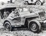 General Douglas MacArthur riding a Jeep on Leyte during the Second World War Fine Art Print by French School
