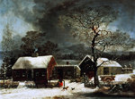 Winter Scene in New Haven, c.1858 Postcards, Greetings Cards, Art Prints, Canvas, Framed Pictures, T-shirts & Wall Art by E.B. Watts