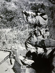 Men of the First US Marine Division armed with .30 calibre Browning machine guns and Browning Automatic Rifles Fine Art Print by French School