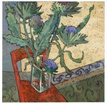 Globe Artichokes on a Red Chair Fine Art Print by Jason Bowyer