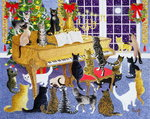 Christmas Chorus (acrylic on canvas) Fine Art Print by Linda Benton