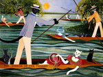 Those Summer Punts Poster Art Print by Pat Scott