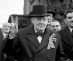 Sir Winston Churchill giving his 'victory' sign during a polling day tour of his constituency in Woodford, Essex, 23rd February 1950 Fine Art Print by Anonymous