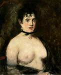 Brunette with bare breasts Fine Art Print by Pierre-Auguste Renoir