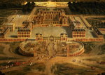 View of the Chateau, Gardens and Park of Versailles from the Avenue de Paris, detail of the Chateau, 1668 Wall Art & Canvas Prints by Peter Nicholls