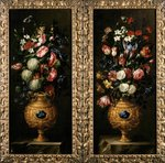 Pair of still lives of flowers in decorative gold vases with lapiz cartouches Fine Art Print by Cornelis van Spaendonck