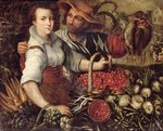 A Market Scene with Fruit and Vegetable Sellers Fine Art Print by Theodore Chasseriau