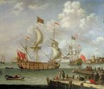 The Royal Yacht off shore Fine Art Print by Theodore de Bry