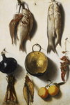 A Trompe L'Oeil of Fish, Cooking Utensils, Vegetables and Fruit Fine Art Print by Claire Spencer