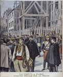 Strike in Paris, building site protected by the army, illustration from 'Le Petit Journal' Supplement illustre, 23rd October 1898, engraved by Henri Meyer Fine Art Print by P.J. Crook
