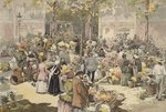 The flower market, Paris, 1886 Postcards, Greetings Cards, Art Prints, Canvas, Framed Pictures, T-shirts & Wall Art by Anonymous