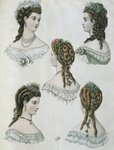 Hairstyles, illustration from 'La Mode illustree', 1860 Fine Art Print by Veronese