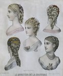 Hairstyles, illustration from 'Le Moniteur de la Coiffure', 10th December 1879 Fine Art Print by French School