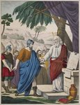 Joshua appointed by Moses as his successor, illustration from a catechism 'L'Histoire Sainte', published by Charles Delagrave, Paris, late 19th century Fine Art Print by French School