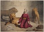 Daniel in the den of lions, illustration from a catechism 'L'Histoire Sainte', published by Charles Delagrave, Paris, late 19th century Fine Art Print by Anonymous