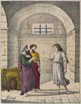 Joseph in prison explaining the dreams of the chief baker and the chief butler, illustration from a catechism 'L'Histoire Sainte', published by Charles Delagrave, Paris, late 19th century Postcards, Greetings Cards, Art Prints, Canvas, Framed Pictures, T-shirts & Wall Art by French School