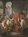 St. Charles Borromeo, archbishop of Milan, distributing alms to the poor, 1853 Fine Art Print by Heinrich Burkel
