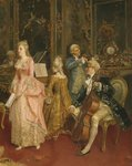 Concert at the time of Mozart, 1853 Wall Art & Canvas Prints by Jean Michel the Younger Moreau