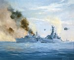 HMS Sheffield on fire, Falklands Islands Campaign Fine Art Print by William Heath