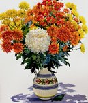 Chrysanthemums in a patterned jug, 2005 Fine Art Print by Deborah Barton