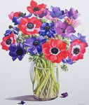 Anemones in a glass jug, 2007 Fine Art Print by Deborah Barton