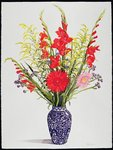 Tiger Lilies, Gladioli and Scabious in a Blue Moroccan Vase (w/c) Postcards, Greetings Cards, Art Prints, Canvas, Framed Pictures & Wall Art by Karen Armitage