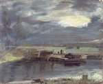 Barges on the Stour with Dedham Church in the Distance, 1811 Fine Art Print by Adrien Manglard