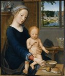 Madonna with the Milk Soup Fine Art Print by Martin Schongauer