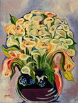 Lilies, 1989 (acrylic on canvas) Fine Art Print by Joan Thewsey