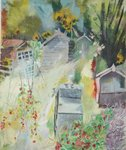 Allotment, Bishops Park, 2009 (oil on canvas) Postcards, Greetings Cards, Art Prints, Canvas, Framed Pictures, T-shirts & Wall Art by Sophia Elliot
