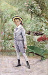 Boy with a Wheelbarrow, 1880 Fine Art Print by English School