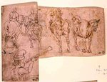 Inv no.38 recto Sketch of Horses, c. 1460-70 Fine Art Print by Giotto di Bondone