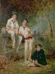 Three Young Cricketers, c.1883 (oil on card) Wall Art & Canvas Prints by English School