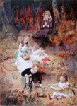 Five Children Playing in the Forest (oil on card) Fine Art Print by John William North