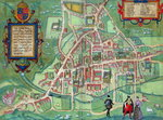 Map of Cambridge, from 'Civitates Orbis Terrarum' by Georg Braun Fine Art Print by Joris Hoefnagel