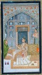 Lady seated in a Pavilion with attendants, from the Small Clive Album Wall Art & Canvas Prints by Mughal School