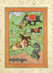 Rajput princes hunting bears; a mahout and his elephant rescue a fallen horseman from a tiger, from the Large Clive Album Postcards, Greetings Cards, Art Prints, Canvas, Framed Pictures, T-shirts & Wall Art by Jan & Vrancx, S. Brueghel
