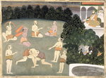 Athletes perform before a seated noble, c.1760 Fine Art Print by Mughal School