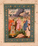 A noble youth with attendants in a landscape, from the Large Clive Album, c.1605 (opaque w/c on paper) Fine Art Print by Mughal School