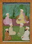 Six Muslim holy men seated on a garden terrace, from the Large Clive Album Fine Art Print by Mughal School
