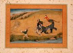 Three men lion hunting, from the Large Clive Album Wall Art & Canvas Prints by Mughal School