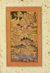 Hunters Capturing Elephants, from the Large Clive Album, c.1760-65 (tinted drawing on paper) Fine Art Print by Mughal School