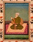 A ruler seated on a carpet or terrace, holding a flower, from the Small Clive Album (opaque w/c on paper) Wall Art & Canvas Prints by Mughal School